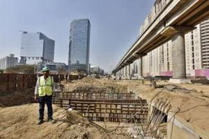 The work on Genpact underpass on Golf Course Road is nearing completion.