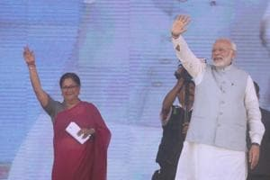 Prime Minister Narendra Modi and chief minister Vasundhara Raje at the Launch of national nutrition mission in Jhunjhunu district of Rajasthan.