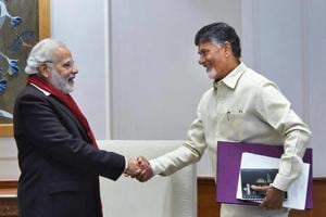 Prime Minister Narendra Modi is seen with TDP President and Andhra Pradesh chief minister N Chandrababu Naidu in New Delhi on January 12, 2018.