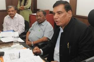 Principal chief commissioner (Income Tax) Bihar and Jharkhand, Kailash Chandra Ghumaria  addressing a press conference
