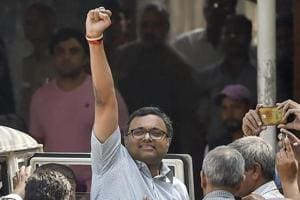 Karti Chidambaram, son of former finance minister P Chidambaram, arrives at Patiala House courts in connection with the INX Media money laundering case, in New Delhi, on Friday.