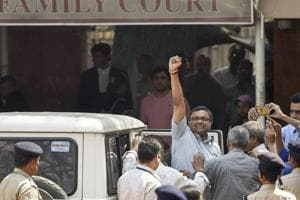 Karti Chidambaram, son of former finance minister P Chidambaram, arrives at Patiala House courts in connection with the INX Media case, in New Delhi on March 9.
