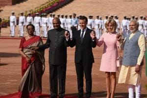Photos: French President Macron begins four-day visit to India