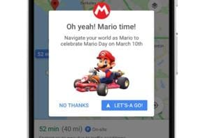 Here's how you can replace navigation arrow on Google Maps with Mario...