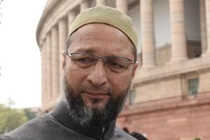 Asaduddin Owaisi during the budget session of Parliament in New Delhi on February 6, 2018.