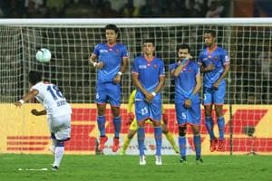 Jerry Lalrinzuala of Chennaiyin FC takes a free kick during the second semi-final1st leg of the Indian Super League against FC Goa at the Jawaharlal Nehru Stadium on Saturday.