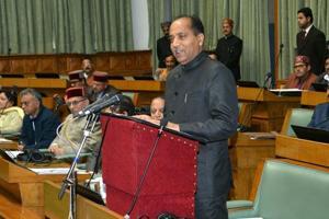 Himachal Pradesh chief minister Jai Ram Thakur presenting the budget at the Himachal Pradesh Vidhan Sabha in Shimla on Friday.