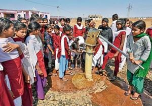 A handpump, the solitary one in Jhabua's Rama block, provides drinking water and the water needed for cooking and serving mid-day meal to 376 students of Chainpura Middle School.