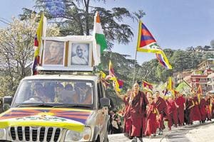 Tibetans during a rally at McLeodganj, Dharamshala, on Saturday.