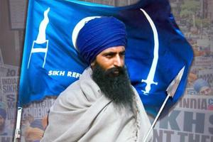 A poster of Sikhs For Justice, a hardline Sikh activist group active in Canada.