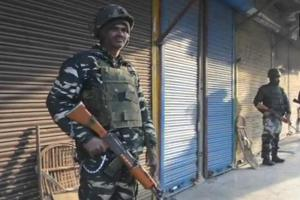 Security forces in Anantnag's Hakura where three terrorists were killed in an encounter on Monday morning.