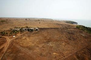 An aerial view shows the Jaitapur Nuclear Power Project site in Jaitapur.