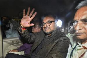 Karti Chidambaram leaves Patiala House Court in New Delhi.
