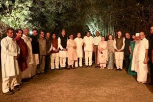 Leaders of 20 opposition parties during the dinner hosted by UPA chairperson Sonia Gandhi at her residence 10 Janpath, New Delhi.