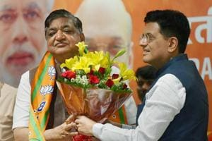 Samajwadi Party leader and Rajya Sabha MP Naresh Agarwal being welcomed by Union minister Piyush Goyal as he joins BJP at party headquarters, New Delhi, March 12