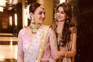 Esha Deol with her sister-in-law at a family wedding.