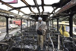 A Haryana Roadways bus was set on fire near Bhondsi village in Gurgaon allegedly by activists of Karni Sena, who were protesting against the release of film Padmaavat.