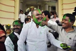 Rashtriya Janta Dal legislators celebrate after the success of their party candidates in Lok Sabha and Assembly by-elections outside Bihar Assembly in Patna on Wednesday.