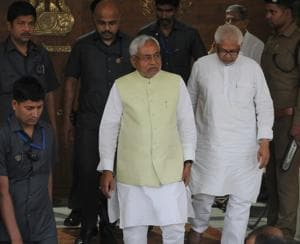 Chief minister Nitish Kumar coming out of the assembly premises, after the bypoll results, in Patna on Wednesday.