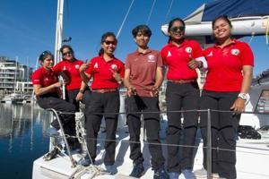 Navy's all-woman crew aboard INSV Tarini begins return journey
