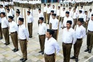 File photo of RSS volunteers in Shimla. The flag hoisting event in Ranchi was planned by Vipul Singh and six other RSS workers, four of whom have suffered burn injuries.