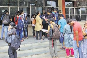 Students at Deshbandhu College under the Delhi University.