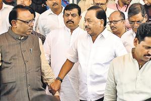 Maharashtra Swabhiman Paksh leader Narayan Rane (centre) at the Vidhan Bhavan on Wednesday.