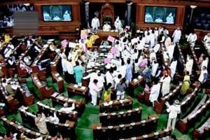 Two bills passed amid din in Lok Sabha, proceedings remain paralysed