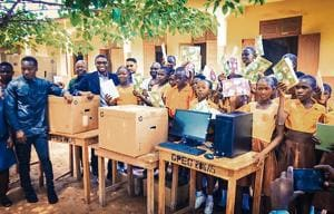 Ghana teacher who taught software using blackboard gifted computers by...