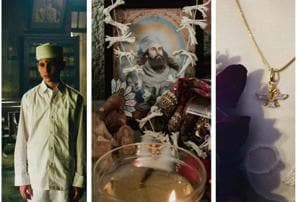 (From left to right) A portrait of Rooyintan, the only student remaining at the Andheri Madressa Institute, one of the two existing religious Zoroastrian schools in Mumbai; a table adorned with statues and pictures of gods, in the centre is Zarathustra, the prophet of Zoroastrianism; a necklace depicting the Faravahar icon.