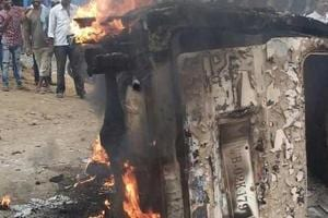 The car belonging to trader Alimuddin alias Asgar Ali that was burnt by a mob in Jharkhand's Ramgarh town last June.