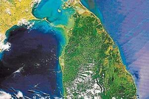 A satellite image of the Ram Setu.