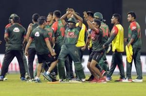 Bangladesh will meet India in Sunday's final of the Nidahas Trophy T20 tri-series after Mahmudullah blasted 43 not out off 18 balls to secure a thrilling two-wicket victory over Sri Lanka in an ill-tempered match on Friday.