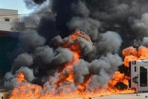 Four people burnt alive after collision of trucks sparks fire in...