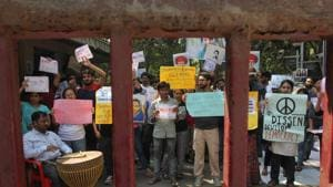 TISS students protest in front of the institute's main gate in Mumbai.