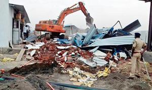 The under-construction hotel off Thane-Bhiwandi Road was razed on Thursday.