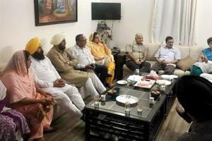 Delhi chief minister Arvind Kejriwal and deputy chief minister Manish Sisodia with Punjab AAP MLAs during a meeting at Sisodia