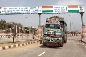 Full-body truck scanner being installed at Attari check-post