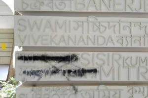 Jan Sangh founder's name sprayed with black on wall at Presidency...