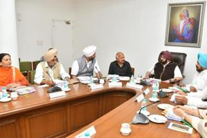 Punjab chief minister Captain Amarinder Singh presiding over the Cabinet meeting at CMO, Chandigarh on Monday.