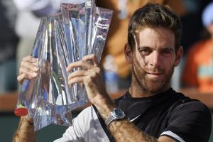 Juan Martin Del Potro in disbelief after beating Roger Federer in...