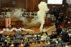 Kosovo oppn halts Parliament proceedings by throwing tear gas