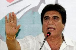 Uttar Pradesh Congress chief Raj Babbar addresses a press conference at the party office in Lucknow.