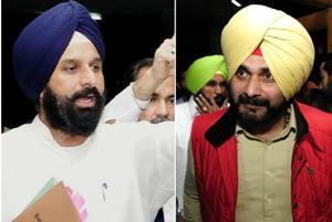 SAD leader Bikram Singh Majithia (left); and Punjab local bodies minister Navjot Singh Sidhu