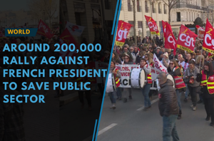 Around 200,000 people protested nationwide against French President...