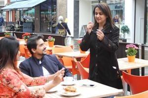 Actor-director Mrinal Kulkarni explains a scene to Pushkar Jog and Prarthana Behere on the sets of Ti&Ti