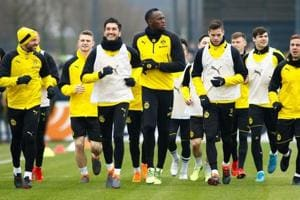 Sprint king Usain Bolt scores in Borussia Dortmund training
