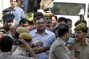 Karti Chidambaram at the Patiala House Courts in New Delhi, on Monday, March 12, 2018.