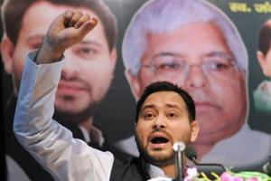 Rashtriya Janata Dal leader Tejashwi Yadav during the 20th death anniversary of Jangi Singh Chaudhary in Patna in February 2018.