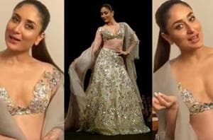 Kareena Kapoor wore a plunging sheer choli with a heavily embellished lehenga at designer Manish Malhotra's Singapore fashion show. (Instagram)